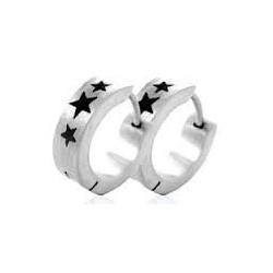 Boucle d'oreille anneaux acier étoile