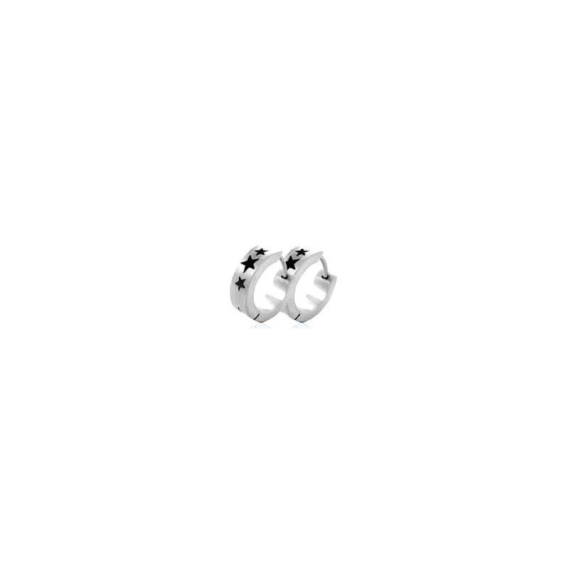 Boucle d'oreille anneaux homme acier chirurgical motif étoile
