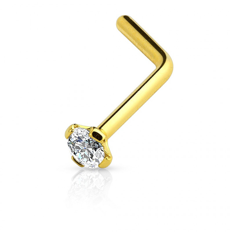 Piercing nez doré en L matière titane anodisé couleur or cristal 2 mm discret