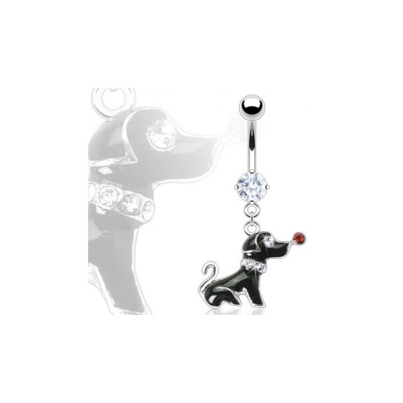 Piercing nombril chien pendant en acier chirurgical