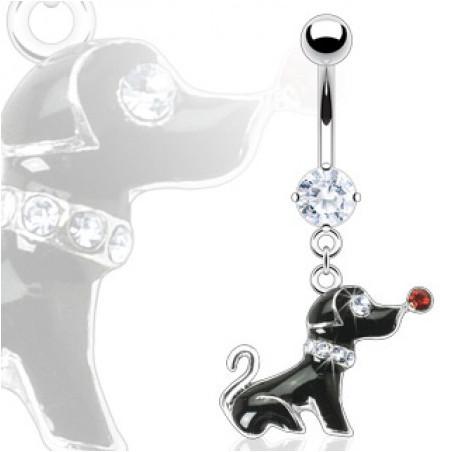 Piercing nombril chien pendant