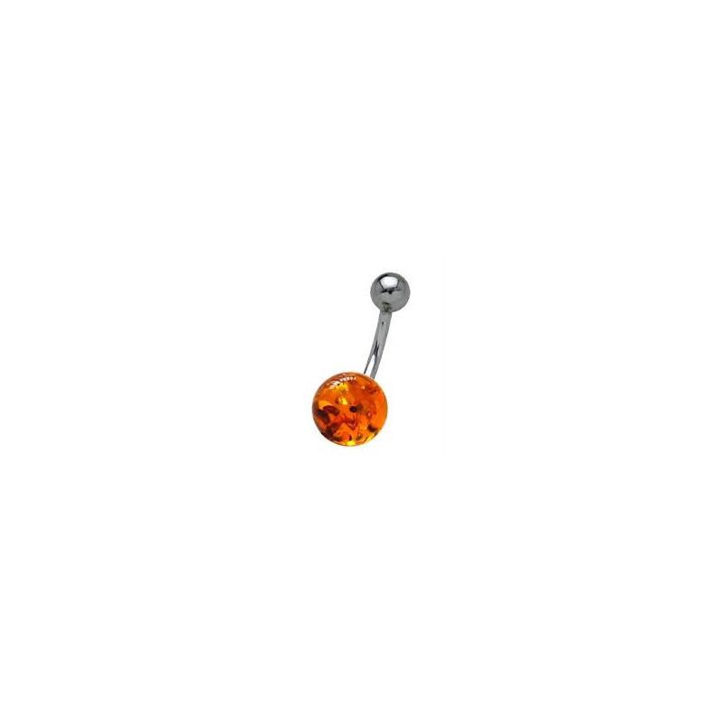 Piercing nombril ambre naturel barre titane de qualité