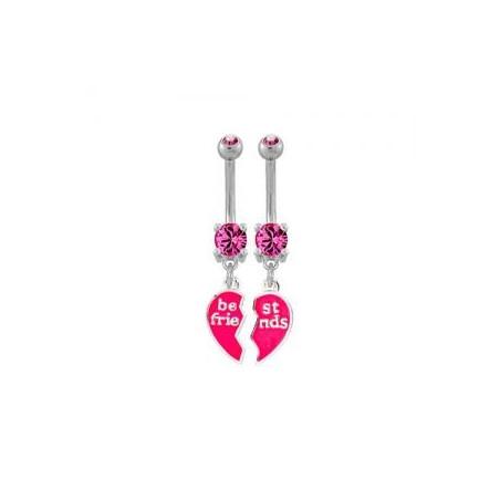 piercing nombril coeur Best friend rose pendant