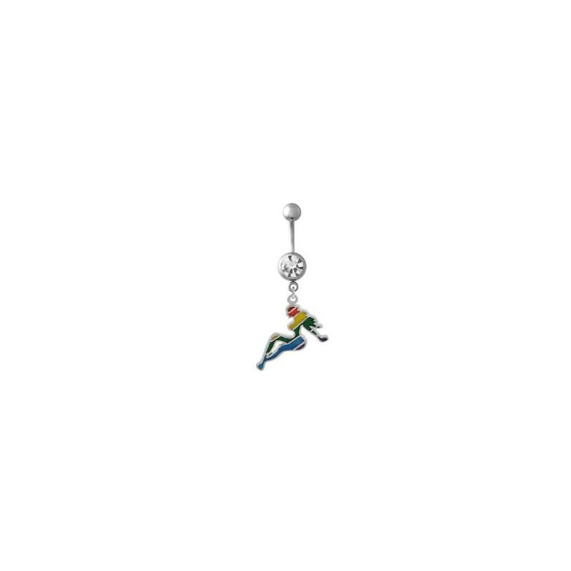 Piercing nombril pin up arc en ciel acier chirurgical pendant