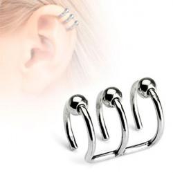 Faux piercing cartilage oreille triple anneaux billes
