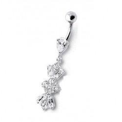 Piercing nombril argent Fleur pendant cristal blanc