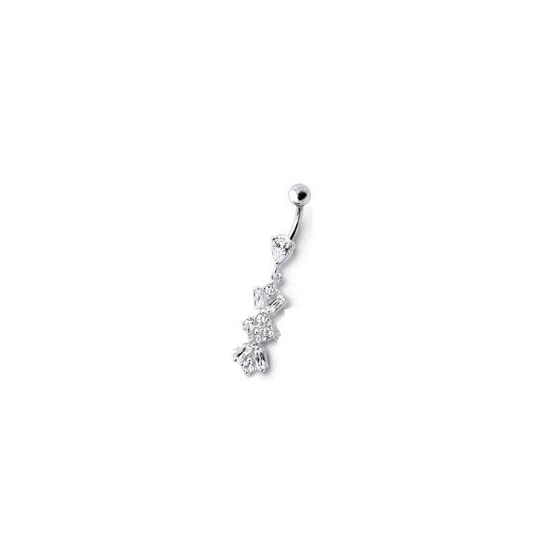 Piercing nombril en argent massif 925 motif Fleur articulé pendante en cristal blanc