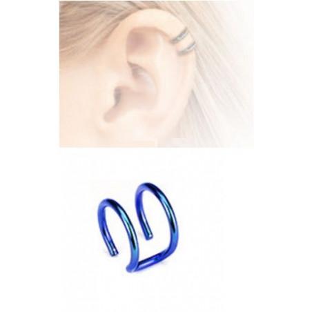 Faux piercing oreille double anneau acier bleu