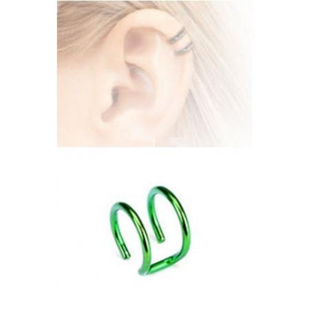 Faux piercing oreille double anneau acier vert