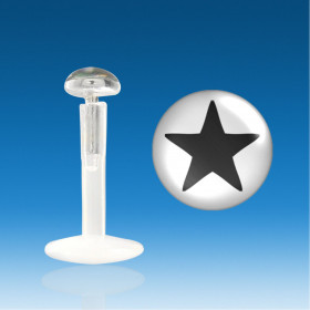 Piercing labret lèvre bioflex logo étoile plate en argent