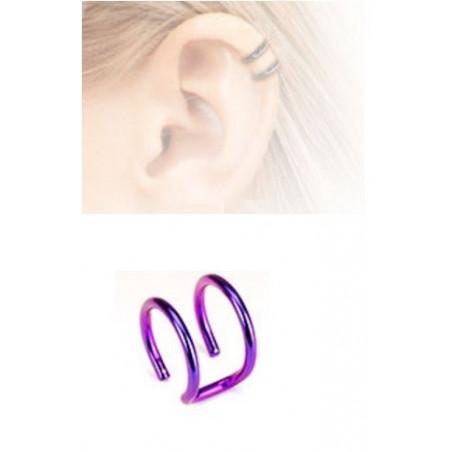 Faux piercing oreille double anneau acier violet