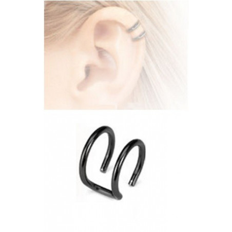 Faux piercing oreille double anneau acier noir