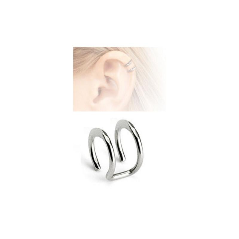 Faux piercing double anneau acier chirurgical