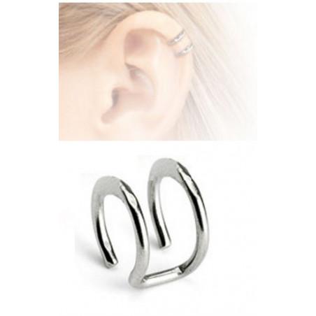 Faux piercing oreille double anneau acier chirurgical