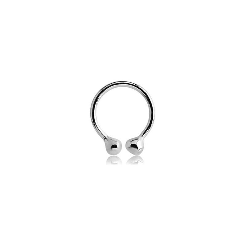 Faux piercing anneau double bille pour nez, oreille labret