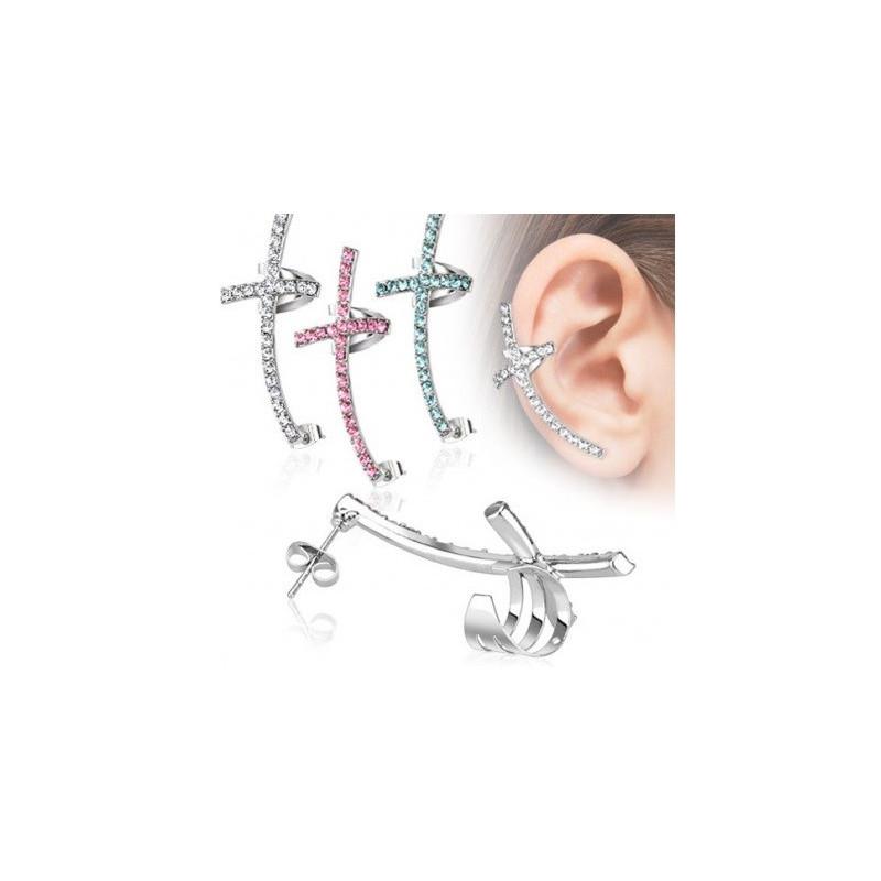Bijou oreille acier chirurgical croix en zirconium de couleur bague cartilage oreille