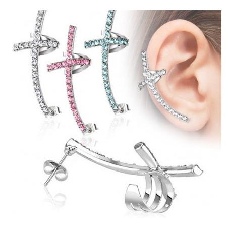 Bijou d'oreille croix en zirconium