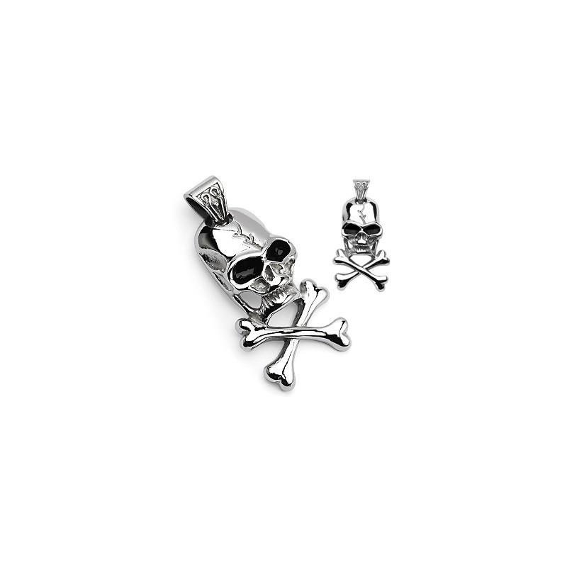 Pendentif pirate Skull acier chirurgical inox pour homme tete de mort