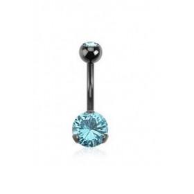 Piercing nombril black line cristal bleu turquoise 3 grif de qualité en acier noir