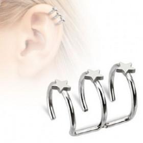 Faux piercing cartilage triple anneau étoile