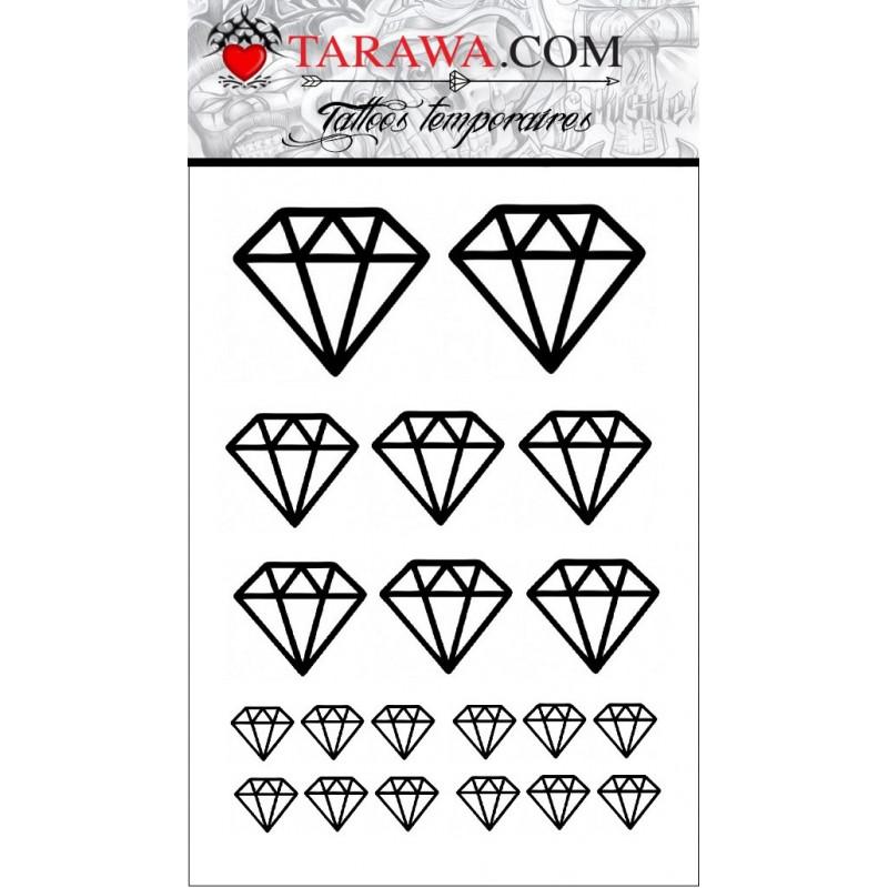 faux Tatouage temporaire motif 20 diamant