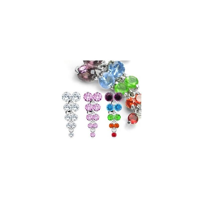piercing nombril inversé rivière cristal de couleur