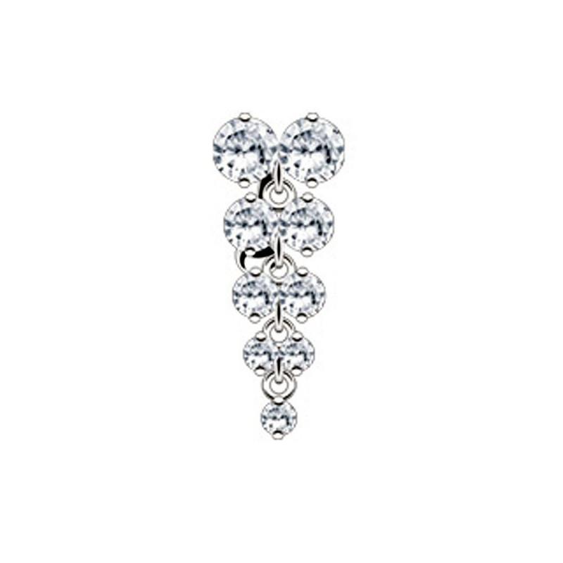 piercing pour nombril inversé strass couleur diamant en rivière