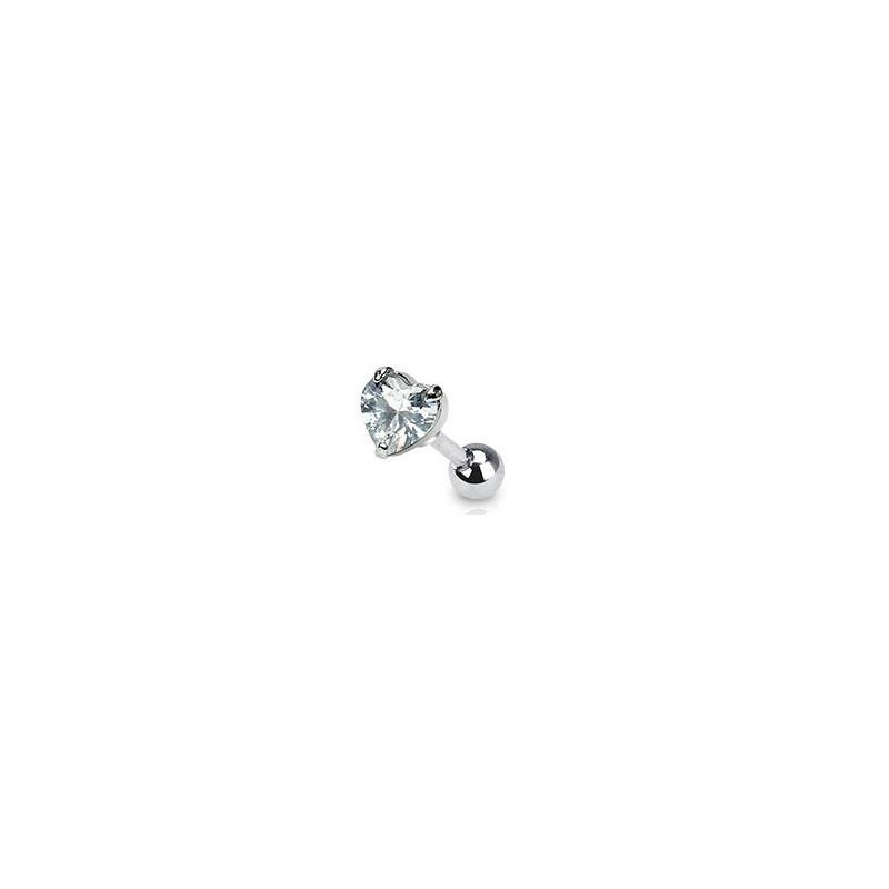 Piercing oreille tragus motif coeur cristal blanc