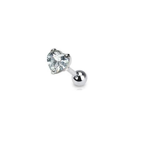 Piercing oreille coeur cristal blanc