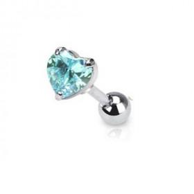 Piercing oreille hélix motif coeur bleu turquoise cristal