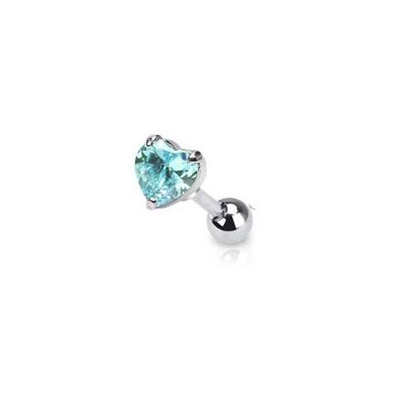 Piercing cartilage coeur cristal turquoise