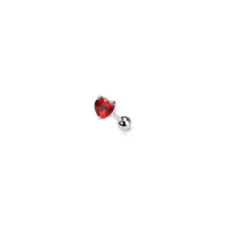 Piercing oreille cartilage motif coeur rouge cristal