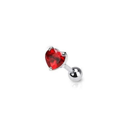 Piercing cartilage coeur cristal rouge