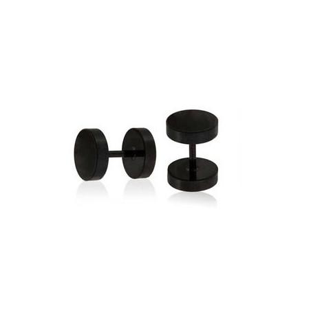 Faux piercing plug acier noir