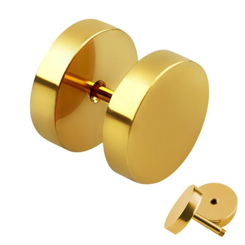 Faux écarteur oreille acier chirurgical doré
