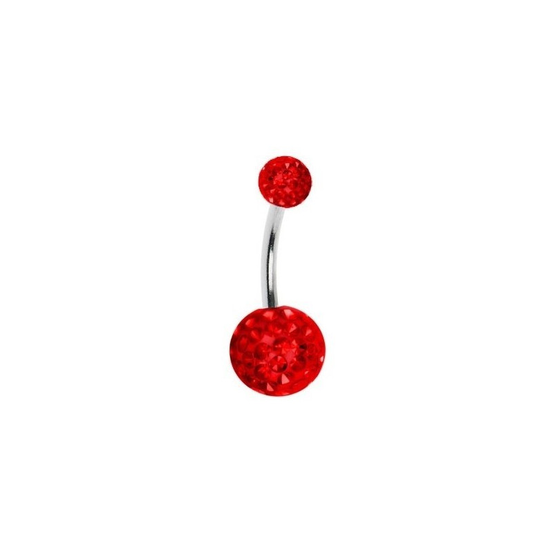 piercing au nombril cristal rouge