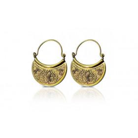 Boucles d'oreilles bouclier doré pour femme