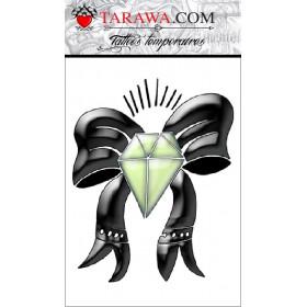 faux Tatouage temporaire diamant et nœud couleur