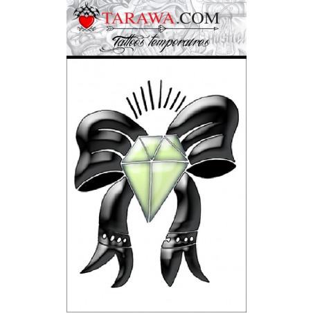Tatouage temporaire diamant et nœud couleur