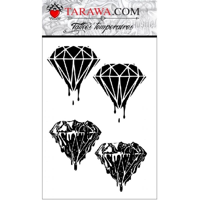Tatouage éphémère diamant de sang