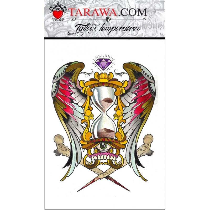 Tatouage temporaires sablier ailes d'ange couleur pas cher