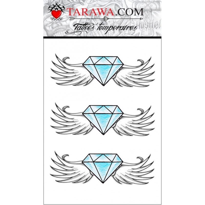 Tatouage éphémère diamant bleu et ailes d'anges