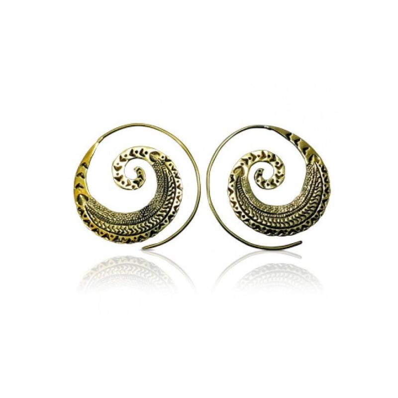 Boucles d'oreilles spirales avec motifs Aztèques doré