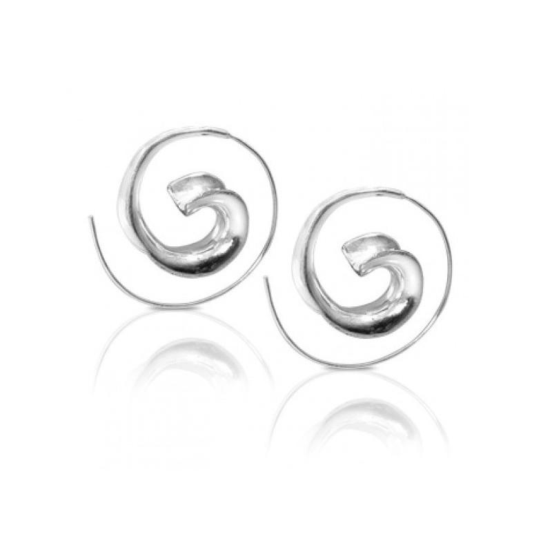 Boucles oreilles spirales antique escargot argenté