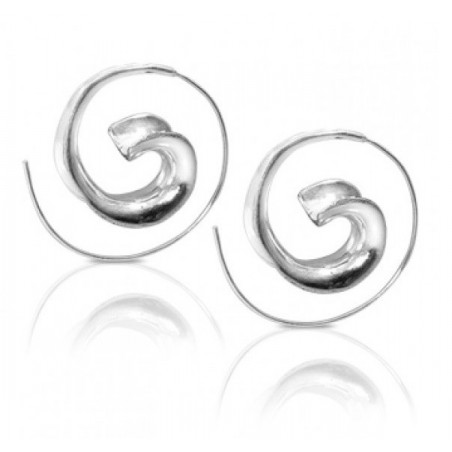 Boucles d'oreilles spirales antique escargot argenté