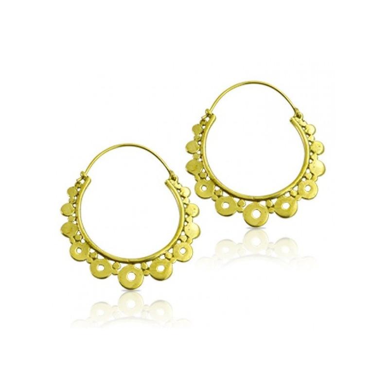 Boucles d'oreilles créoles doré inspiration Inca