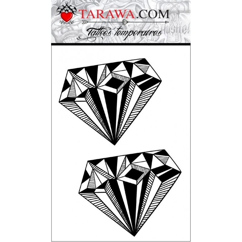 tatouage temporaire double diamant noir a6 - tarawa