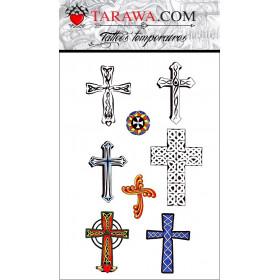 faux Tattoo Croix autocollant couleur