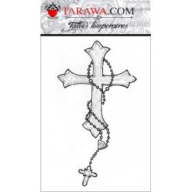 Tatouage temporaire croix et chapelet grand format