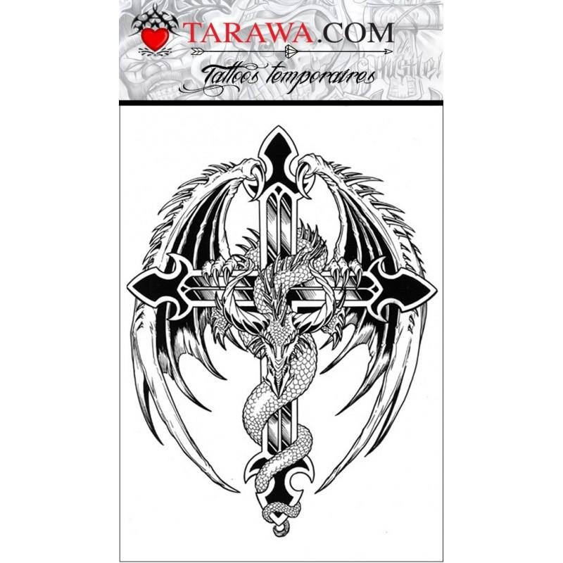 Tatouage temporaire motif dragon sur une croix
